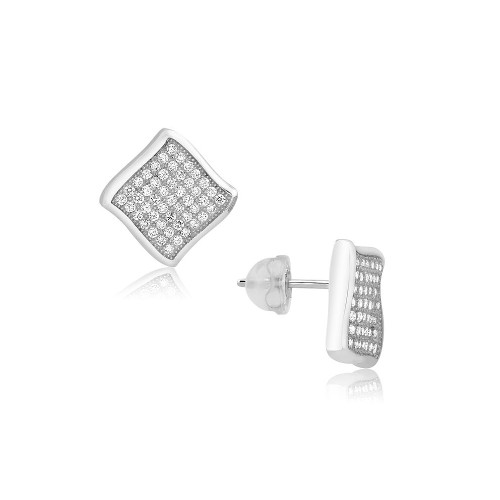 Sterling Silver Micro Pave Cubic Zircon Wave Post Earrings