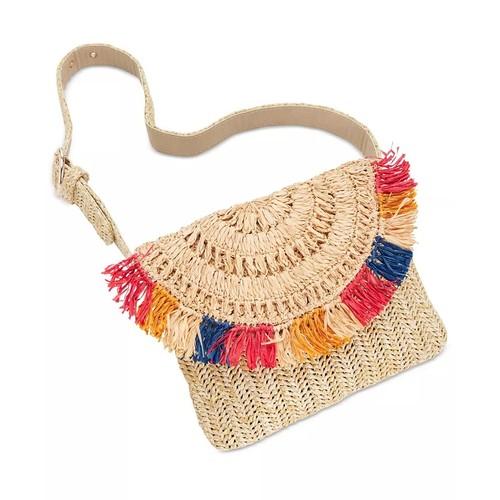 INC International Concepts Women's Straw Fringe Belt Bag Beige Size Medium