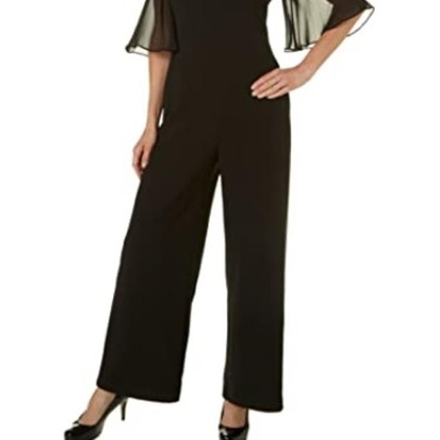 Connected Women's Cold Shoulder Wide Leg Jumpsuit Black Size 6