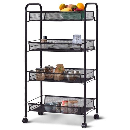 Costway 4 Tier Storage Rack Trolley Cart Home Kitchen Organizer Utility Bas
