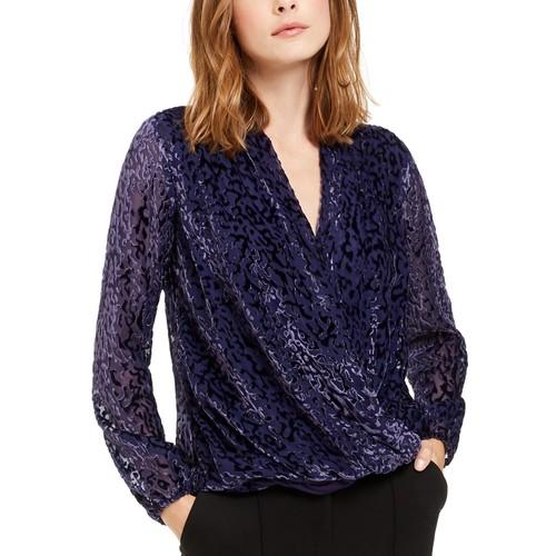Alfani Women's Petite Velvet Burnout Blouse Purple Size X-Large