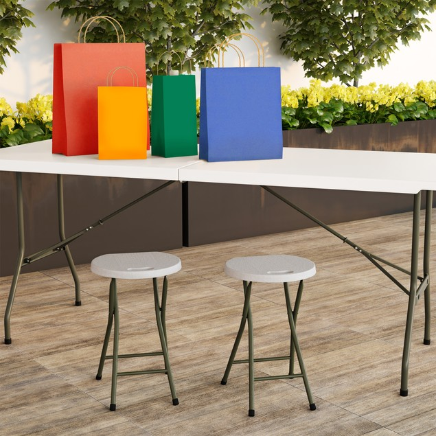 18 Inch Folding Stools for Extra Guest Seating Set of 2