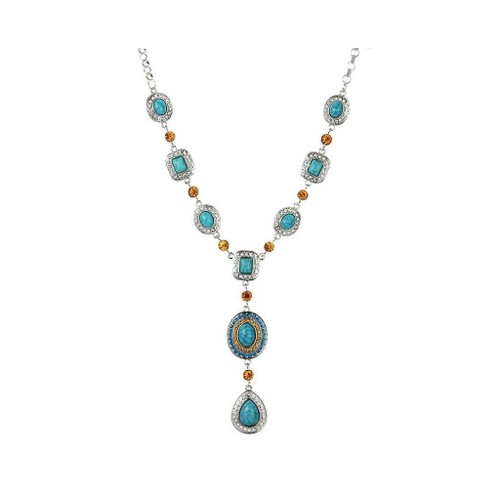Novadab Turquoise Citrine Iced Water Drop Necklace For Women