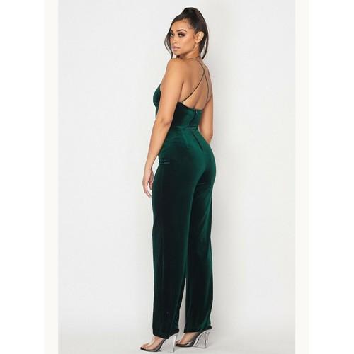 Teeze Me Juniors' Velvet Jumpsuit Green Size 7