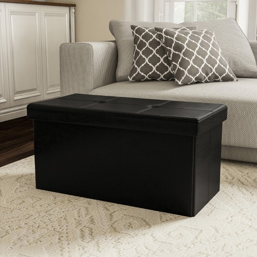 Large Foldable Storage Bench Ottoman  Tufted Faux Leather Cube
