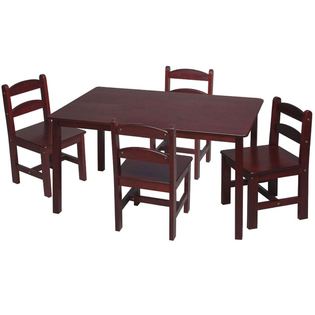 Gift Mark Children's Cherry Rectangle Square Table With 4 Chairs