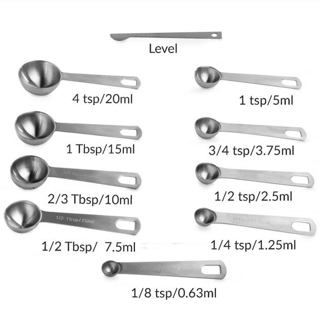 Stainless Steel Measuring Spoons - Set of 9 | MandW