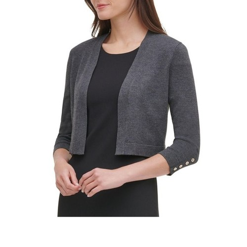 Tommy Hilfiger Women's Button Sleeve Shrug Dark Gray Size Small