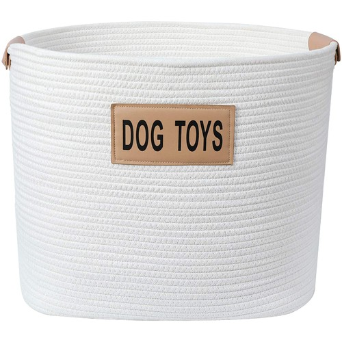 Midlee Rope Dog Toys Basket with Leather Handles