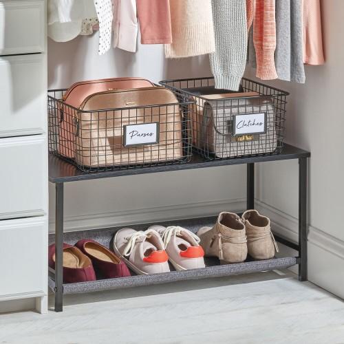 mDesign Shoe Storage Bench with Fabric Shelf, 2-Tier Organizer Unit