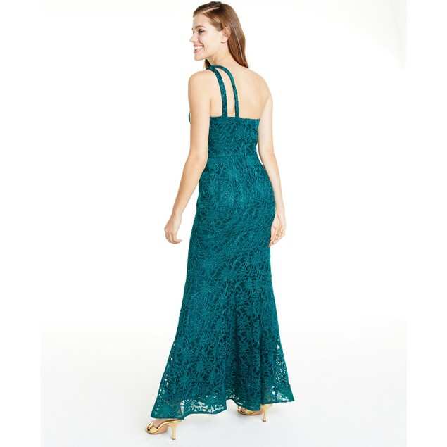 BCX Juniors' One-Shoulder Glitter Lace Gown  Bright Grn Size 15