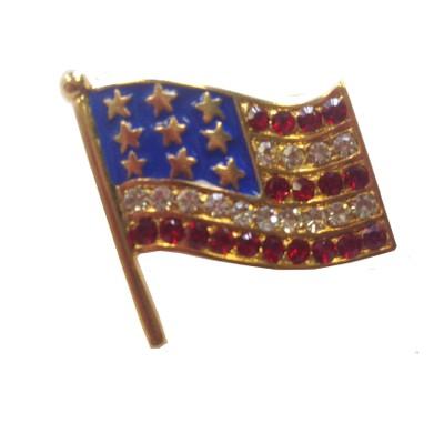 American Flag Pin With Gems Brooch Rhinestone Stripes USA Patriotic Fashion