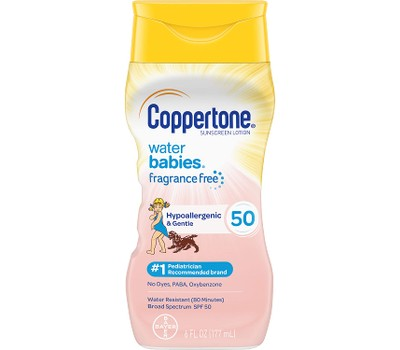 6-Pack Coppertone Water Babies Hypoallergenic Sunscreen Lotion SPF 50, 6 oz Was: $49.99 Now: $39.99.