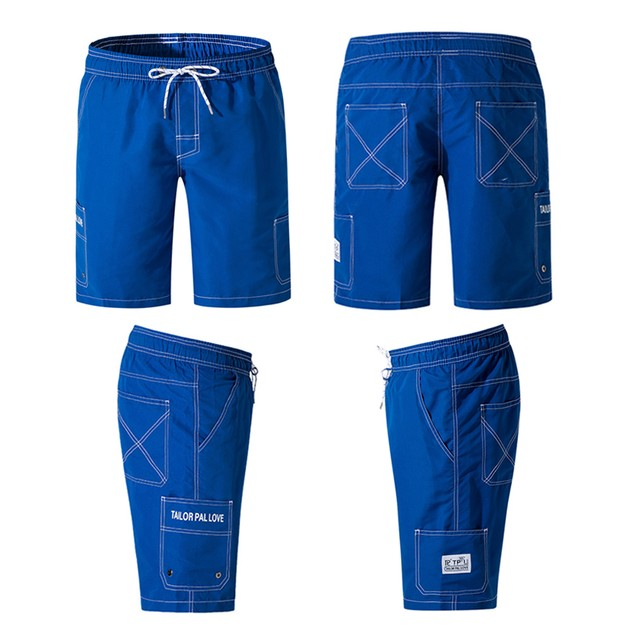 Mens Quick-drying Surf Pants with Pockets Solid Color Swimming Shorts