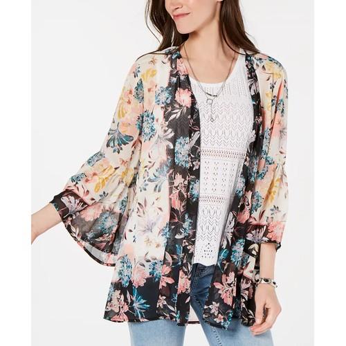 Style & Co Women's Floral-Print Kimono Natural Size Medium