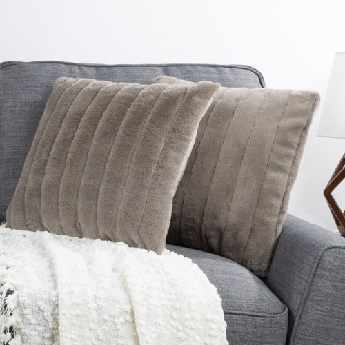 """17"""" Plush Pillows – Set of 2 Gray Channel Striped Square Accent Pillow Inserts and Covers – For Bedroom or Living Room by Lavish Home"""