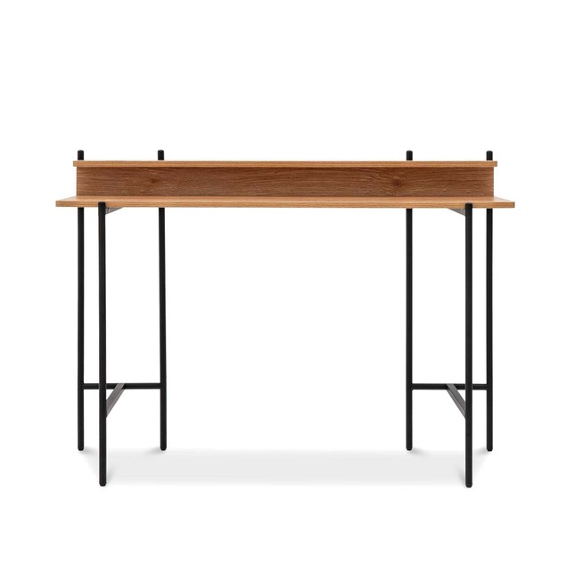 """Monster Living Querencia 34""""H Modern Design Rectangular Home Office Study Writing Desk with Acacia Top and Steel Legs"""