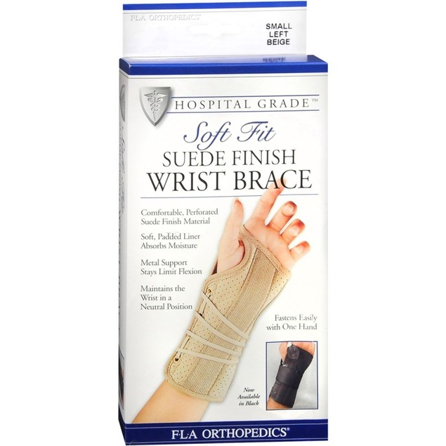 FLA Orthopedics Two Soft Fit Suede Finish Wrist Brace Left Small