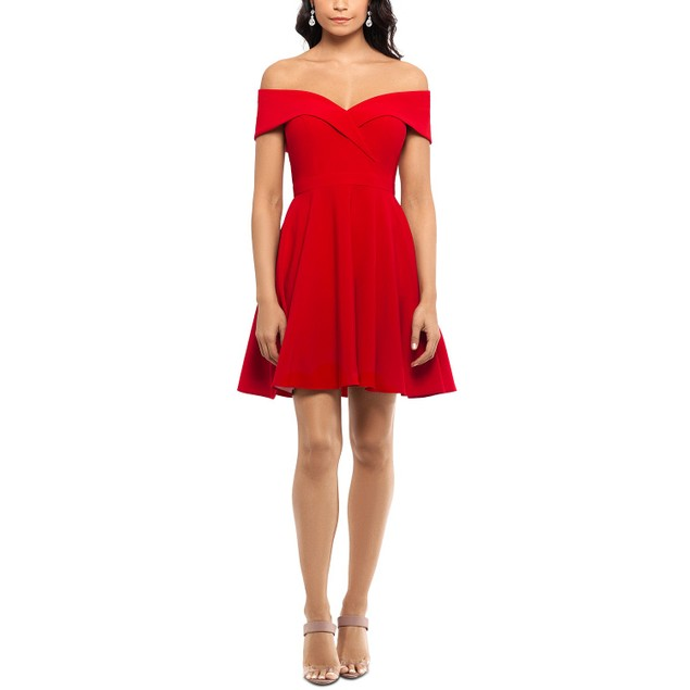 Xscape Women's Off The Shoulder Party Dress Red Size 2