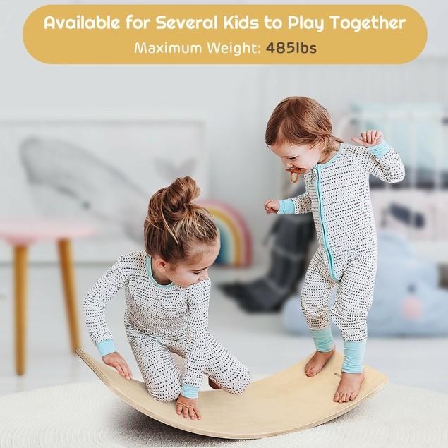 Goplus Wooden Wobble Balance Board Kids 35'' Rocker Yoga Curvy Board Toy w/