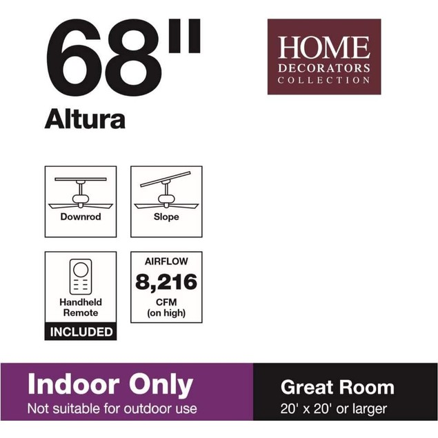 "Home Decorators Collection Altura II 68"" Indoor Bronze Ceiling Fan with"