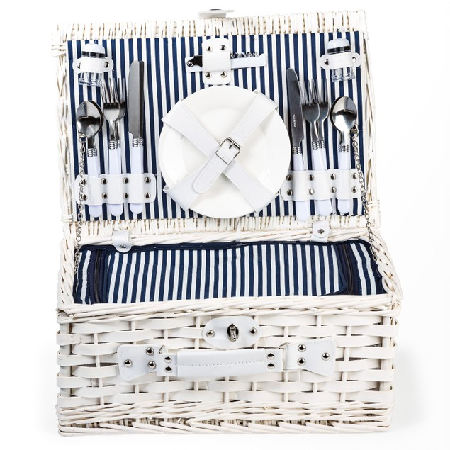 Heavy-Duty, Stylish Willow Picnic Basket (4-person Blue and White Stripe)