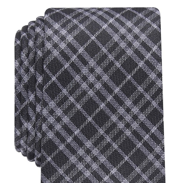 Bar III Men's Cooper Skinny Plaid Tie Black Size Regular