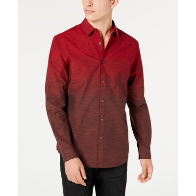 INC International Concepts Men's Heathered Ombre Shirt Red Size Extra Large