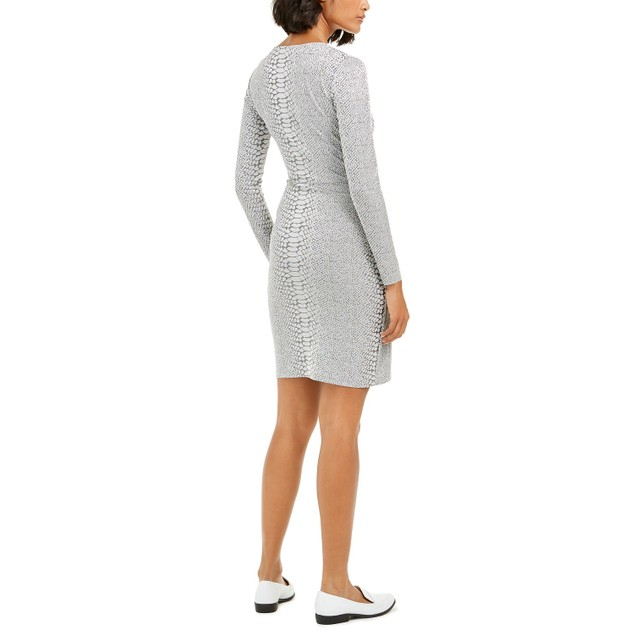 French Connection Women's Snake Jacquard Faux-Wrap Dress Gray Size 0