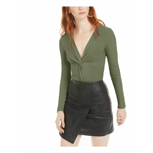 Bar III Women's Twisted Thong Bodysuit Green Size Medium