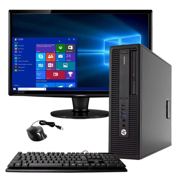 "HP 800G2 Desktop Intel i5 4GB 250GB HDD Windows 10 Home 24"" Monitor"