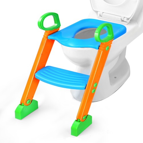 Potty Training Toilet Seat w/ Steps Stool Ladder For 1-8 Years Kids