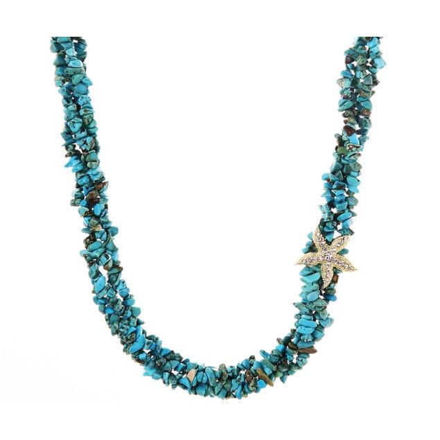 Majestic Turquoise Pebble Starfish Necklace