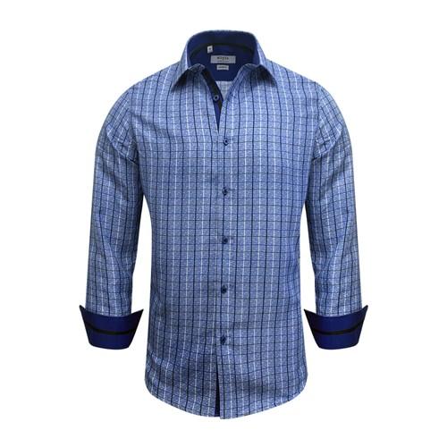Monza Modern Fit Long Sleeve Royal Windowpane Dress Shirt