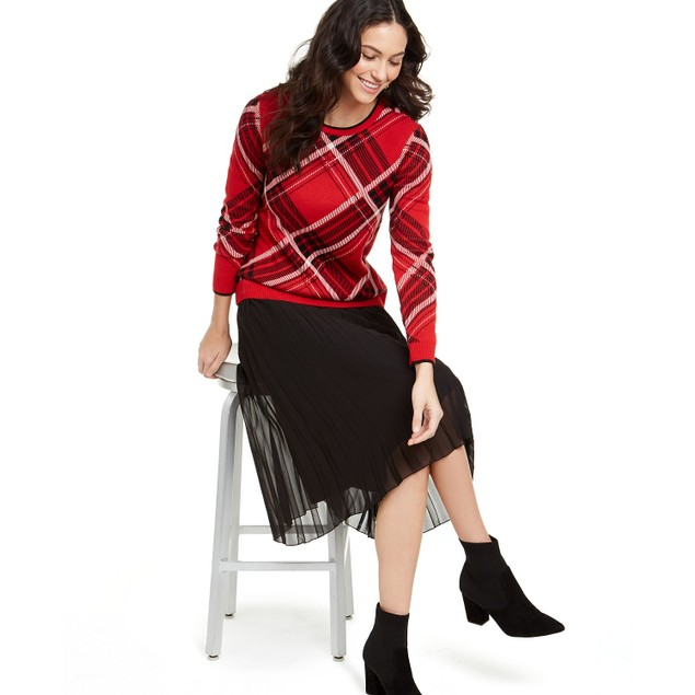 Charter Club Women's Plaid Crewneck Family Sweater  Red Size Extra Large