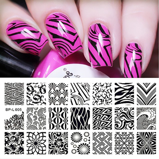 Wave Texture Patterns Nail Art Stamp Template Image Plate