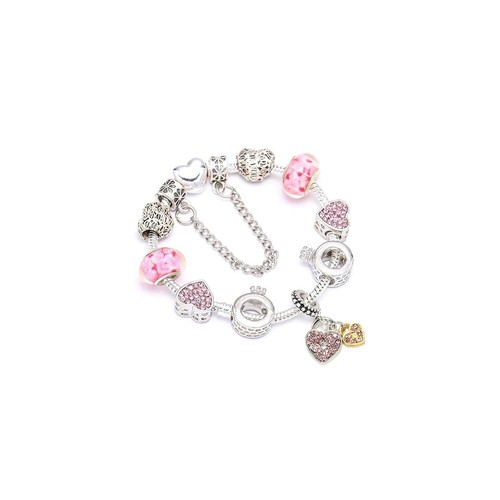 Austrian Crystal And Murano Beads Bracelet With Heart Charm