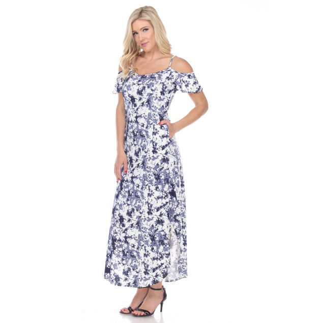 Cold Shoulder Tie-Dye Maxi Dress - 3 Colors - Extended Sizes