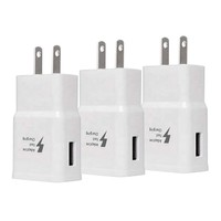 3-Pack of Fast Charging USB Wall Chargers- White