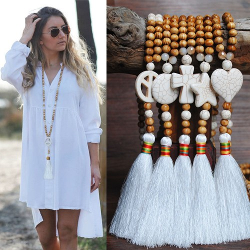 Handmade Wooden Bead Ethnic Style Sweater Chain Women