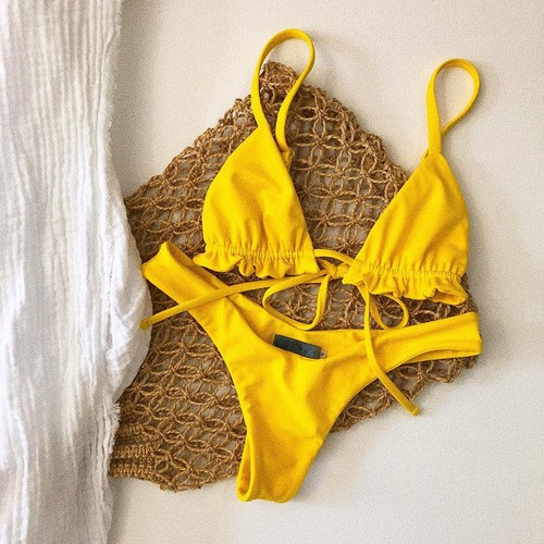 Lace-up Swimsuit With Ruffles