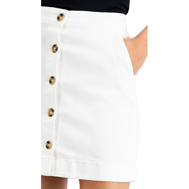 Maison Jules Women's Button-Front Denim Skirt White Size 8