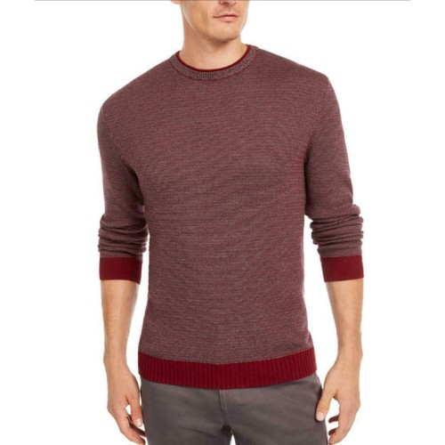 Tasso Elba Men's Supima Cotton Crewneck Sweater Wine Size 2 Extra Large