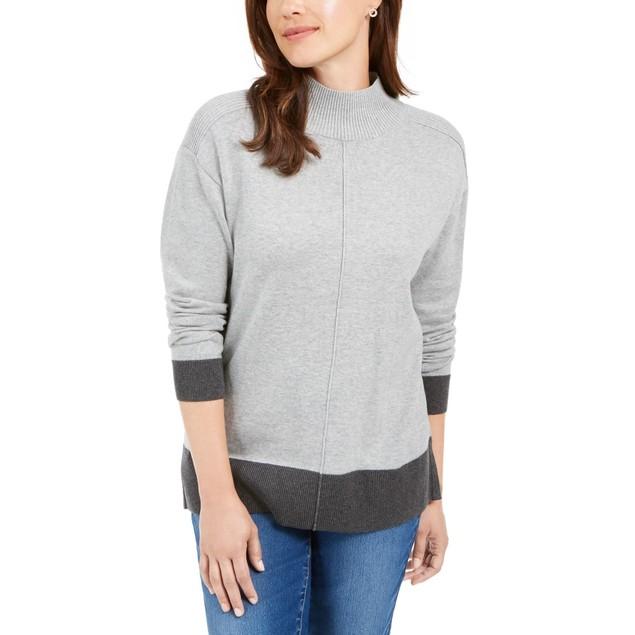 Karen Scott Women's Erin Cotton Mock-Neck Sweater Grey Combo Size Medium