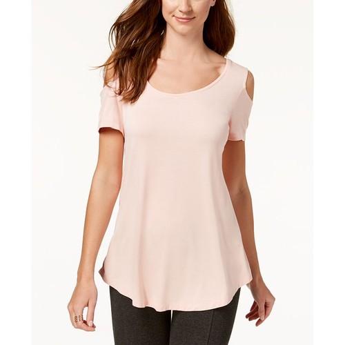 JM Collection Women's Petite Cold-Shoulder Top Pink Size Petite