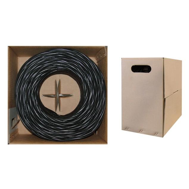 Bulk Cat6 Black Ethernet Cable, Solid, UTP Pullbox, 1000 foot