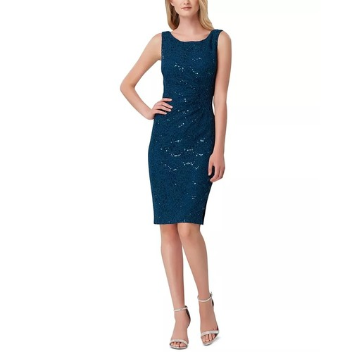 Tahari ASL Women's Sequin Stretch Lace Sheath Dress Blue Size 4