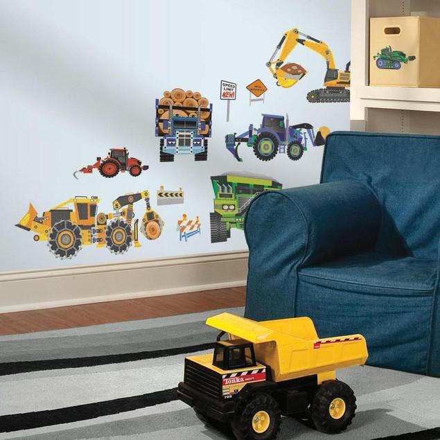 Roommates Nursery Baby Room Wall Decor Construction Vehicles Wall Decals