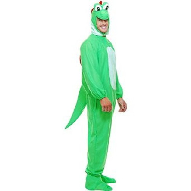 Yoshi Adult Costume Super Mario Bros Yoshimoto Green Dinosaur Gamer Cosplay