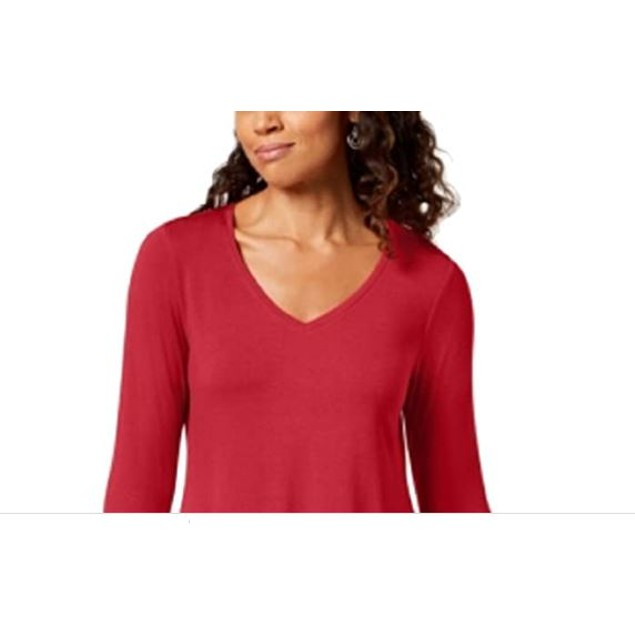 JM Collection Women's V Neck Handkerchief Hem Top Red Size Large